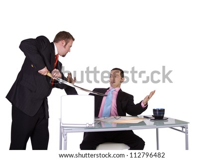 One Businessman Forcing Another to Sign A Contract - Isolated Background - stock photo