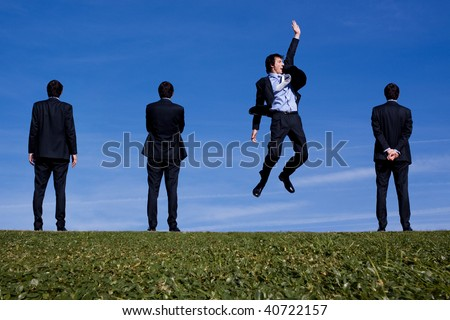 One businessman spots an opportunity. - stock photo
