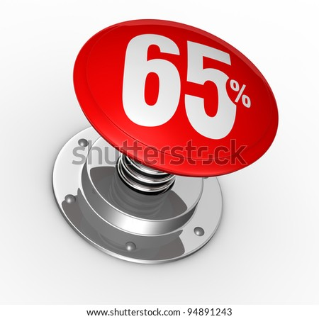one button with number 65 and percent symbol (3d render)