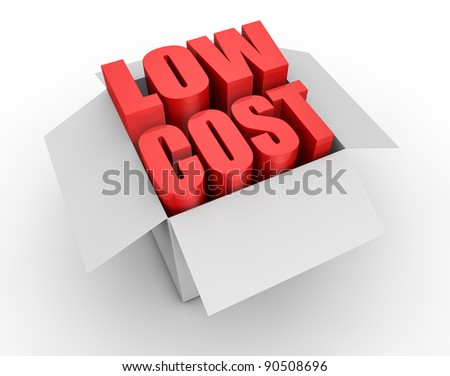 one carton box with the words: low cost coming out (3d render)