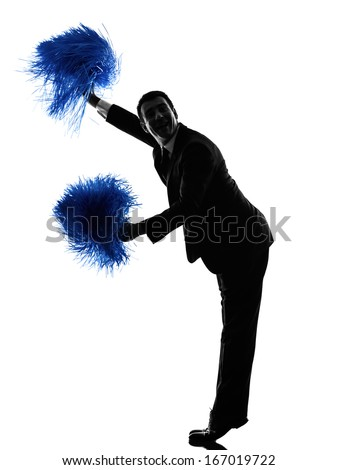one caucasian business man cheerleading in silhouette  on white background