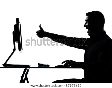 one caucasian business man computer computing silhouette in studio isolated on white background - stock photo