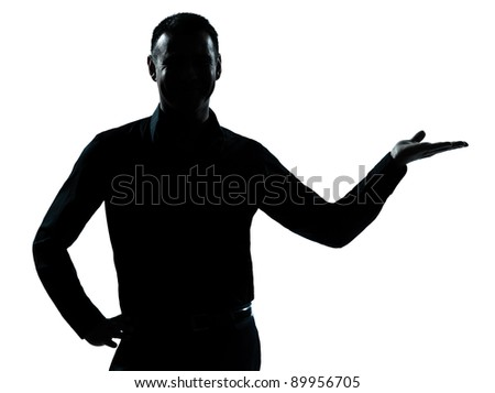 one caucasian business man hand open portrait silhouette in studio isolated on white background - stock photo