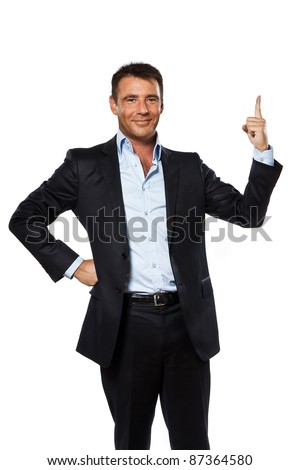 one caucasian business man pointing up finger blank copy space in studio isolated on white background - stock photo