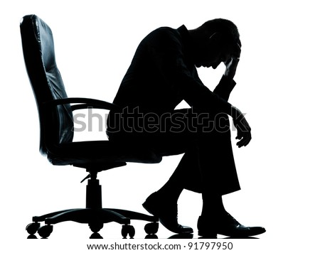 one caucasian business man tired sad despair silhouette Full length in studio isolated on white background - stock photo
