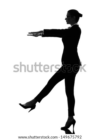 one caucasian business woman sleepwalking in silhouette  on white background