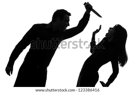 one caucasian couple man killing woman with knife in silhouette studio isolated on white background - stock photo
