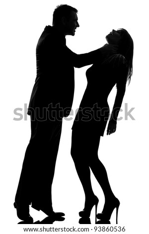 one caucasian couple man strangulate woman expressing domestic violence in studio silhouette isolated on white background - stock photo
