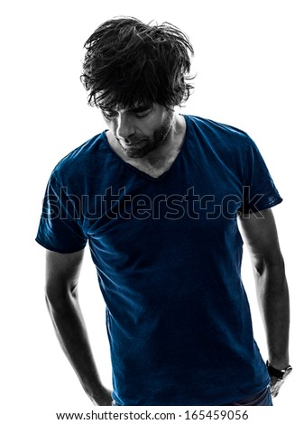 one caucasian handsome stylish stubble man silhouette on white background - stock photo