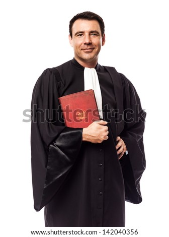 one caucasian lawyer man in studio isolated on white background - stock photo