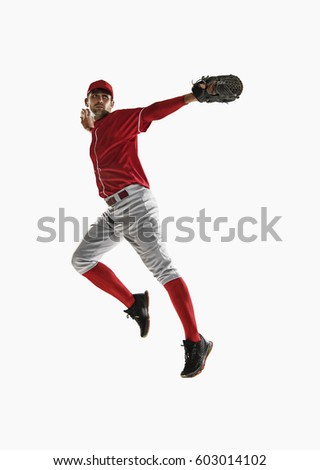 one caucasian man baseball player isolated on white