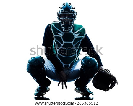 one caucasian man baseball player playing  in studio  silhouette isolated on white background - stock photo
