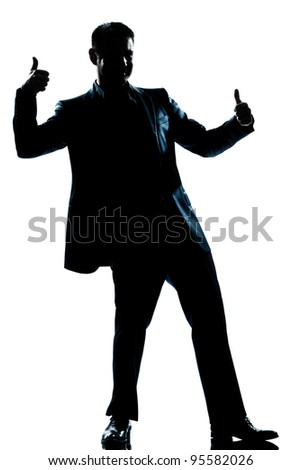 one caucasian man double thumb up full length silhouette in studio isolated white background - stock photo