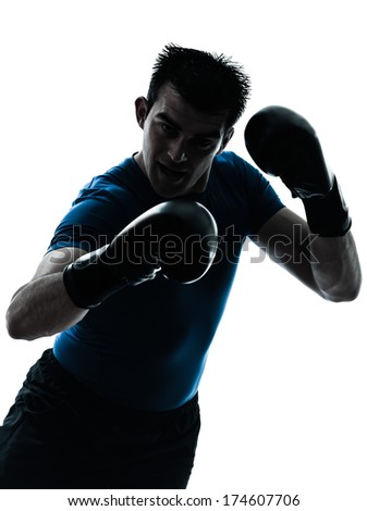 one caucasian man exercising boxing boxer workout fitness in silhouette studio isolated on white background - stock photo