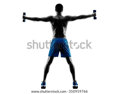 one caucasian man exercising fitness weights exercises in studio silhouette isolated on white background - stock photo