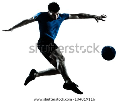 one caucasian man flying kicking playing soccer football player silhouette  in studio isolated on white background - stock photo