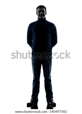 one caucasian man full length in silhouette studio isolated on white background - stock photo