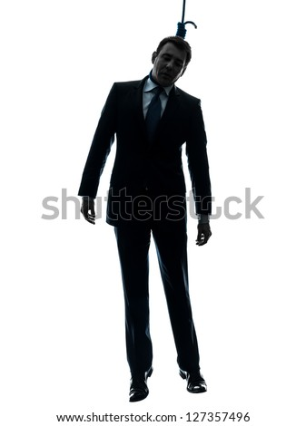 one caucasian man hangman in silhouette studio isolated on white background - stock photo