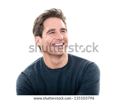 one caucasian man mature handsome man laughing portrait studio  white background - stock photo