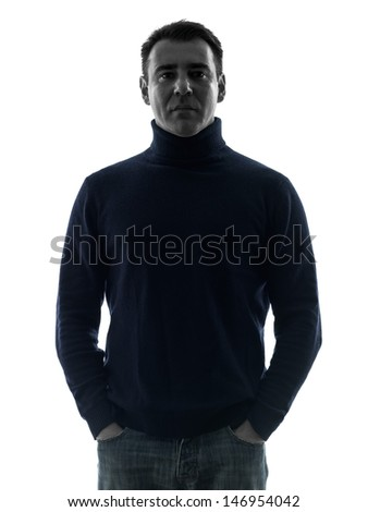 one caucasian man mature serious portrait in silhouette studio isolated on white background - stock photo