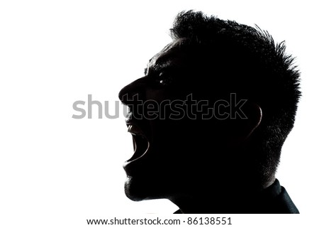 one caucasian man portrait silhouette profile screaming angry in studio isolated white background - stock photo