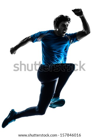 one caucasian man  running sprinting jogging shouting  in silhouette studio isolated on white background - stock photo