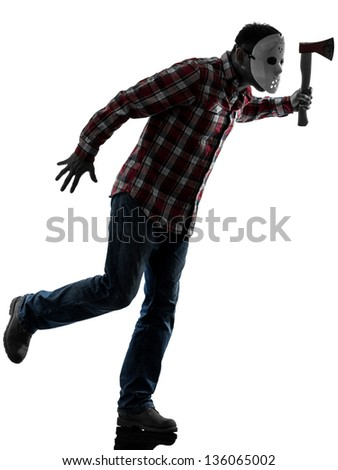 one caucasian man serial killer with mask full length in silhouette studio isolated on white background - stock photo
