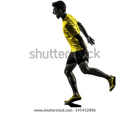 one caucasian man young sprinter runner running muscle strain cramp in silhouette studio  on white background - stock photo