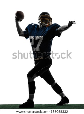 one caucasian quarterback american throwing football player man in silhouette studio isolated on white background - stock photo