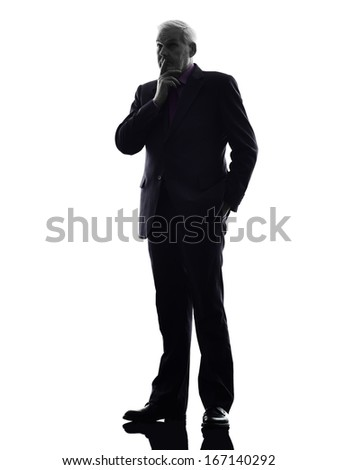 One Caucasian Senior Business Man thinking Silhouette White Background