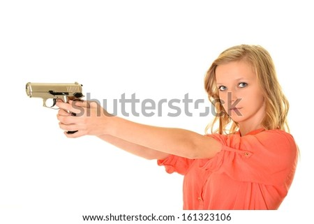 one caucasian sexy detective woman - stock photo