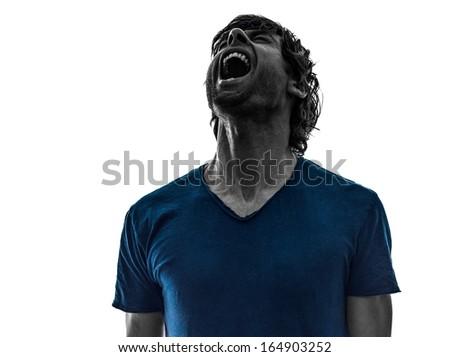 one caucasian stubble man shouting on white background - stock photo