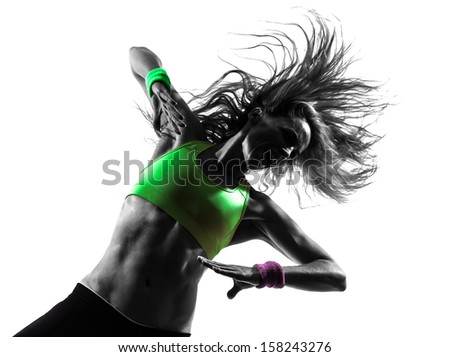 one caucasian woman exercising fitness  dancing  in silhouette  on white background - stock photo