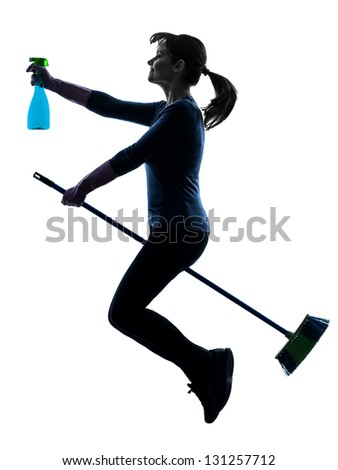 one caucasian woman maid dust cleaning flying broom in silhouette studio isolated on white background - stock photo