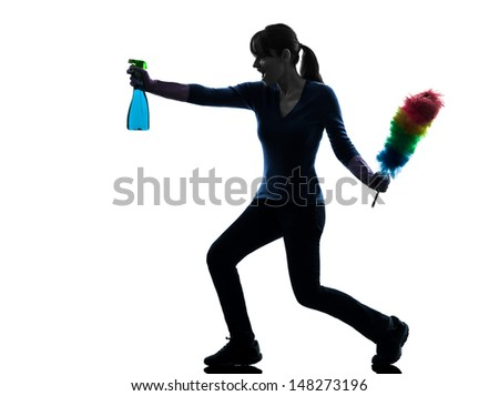 one caucasian woman maid dust  cleaning  in silhouette studio isolated on white background - stock photo