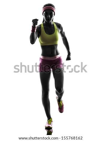 one caucasian woman runner running  in silhouette on white background - stock photo