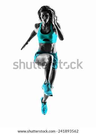 one caucasian woman runner running jogger jogging  in studio silhouette isolated on white background - stock photo