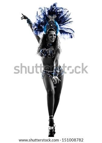 one caucasian woman samba dancer  dancing silhouette  on white background - stock photo