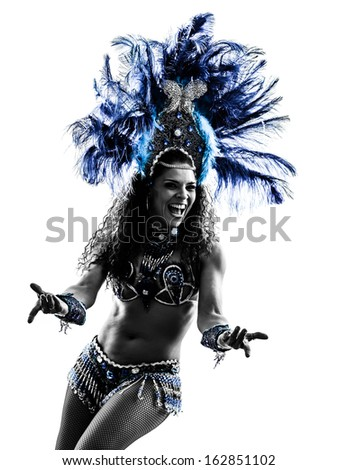 one caucasian woman samba dancer  dancing silhouette  on white background - stock photo