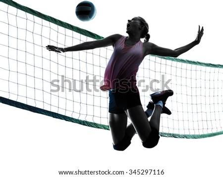 one caucasian woman volleyball in studio silhouette isolated on white background - stock photo