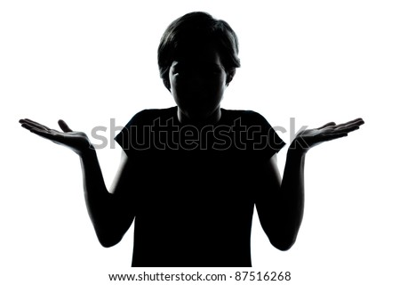 one caucasian young teenager silhouette boy or girl  ignorant hesitation shrugging gesture portrait in studio cut out isolated on white background - stock photo