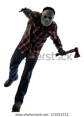 one causasian man serial killer with mask full length in silhouette studio isolated on white background - stock photo