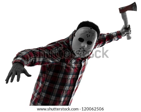 one causasian man serial killer with mask portrait in silhouette studio isolated on white background - stock photo