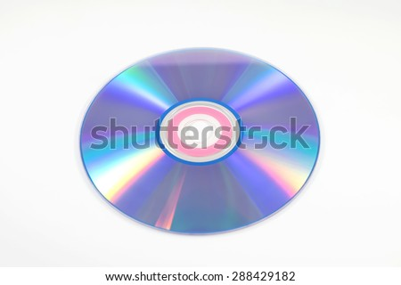 one CD or DVD on white background - stock photo