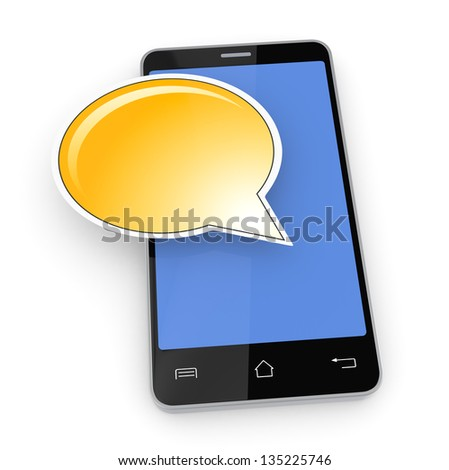one cell phone with a text balloon (3d render) - stock photo