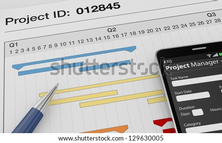 one cellphone with a project manager app and documents with gantt charts (3d render)