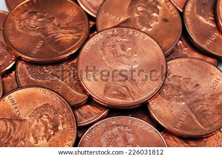 one cent coins isolated on white background - stock photo