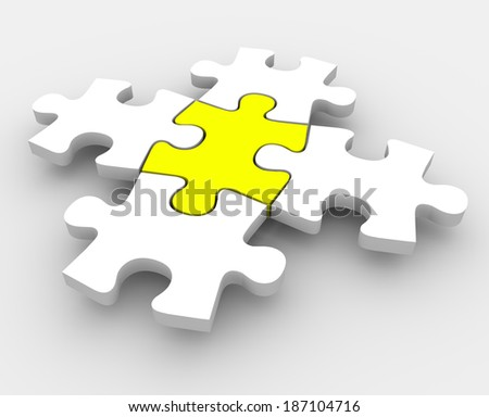 One Central Puzzle Piece Fit Together Solving Problem - stock photo