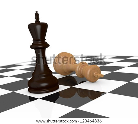 one chessboard; the black king is the winner (3d render) - stock photo