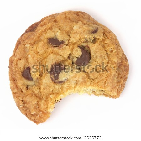 One chocolate chip cookie with a bite taken out, isolated on white background. - stock photo